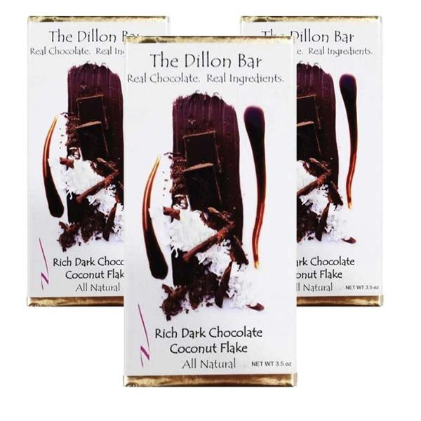 The Dillon bar dark chocolate with coconut.