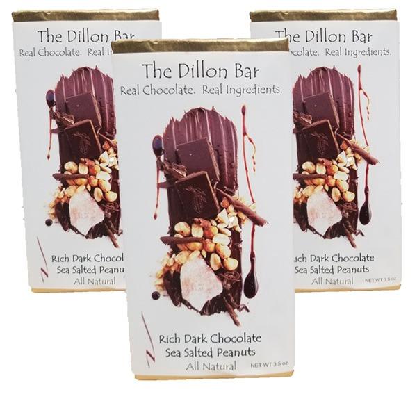The Dillon bar dark chocolate with peanuts.