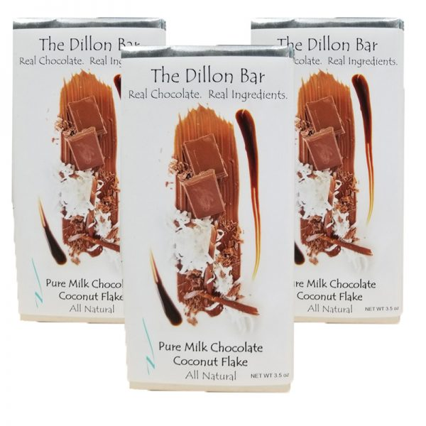 The Dillon bar milk chocolate with coconuts.