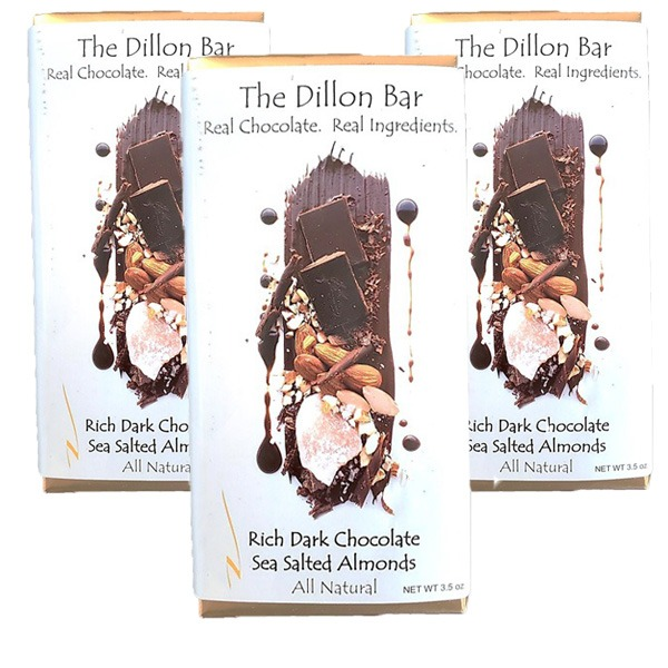 The Dillon bar dark chocolate with almonds.