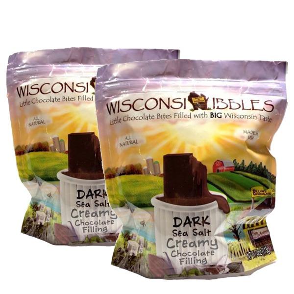 Wisconsin Nibbles dark creamy chocolate filling.