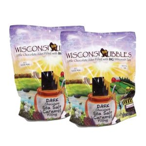 Wisconsin Nibbles dark chocolate with caramel.