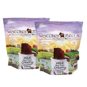 Wisconsin Nibbles milk chocolate with chocolate filling.