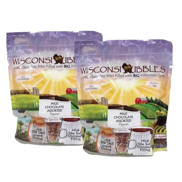 Wisconsin Nibbles milk chocolate flavors.