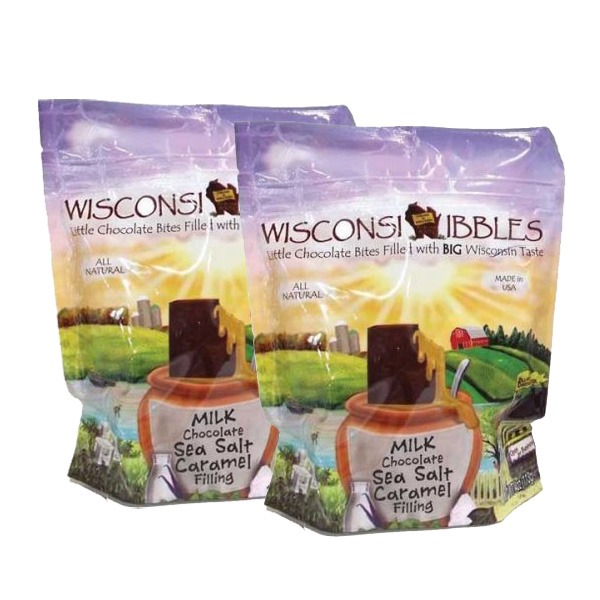Wisconsin Nibbles milk chocolate with caramel.